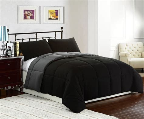 down comforter black king size 3pc reversible down alternative comforter set