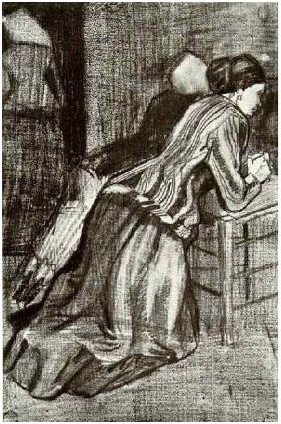 women kneeling  vincent van gogh  drawing