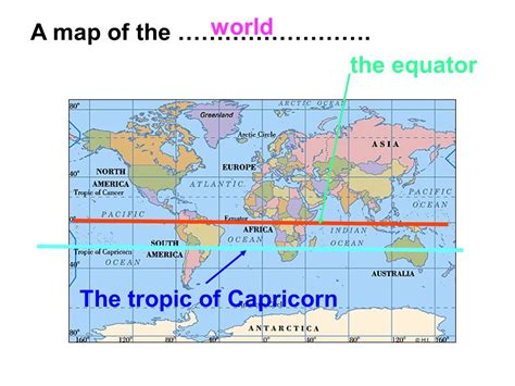 world map with equator world a map of the the equator the tropic of