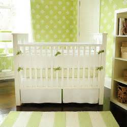 Green Nursery Bedding Sets New Arrivals Inc White Pique With Green Trim Crib Bedding Set
