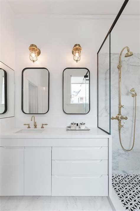 Modern Sconces Bathroom by Modern Black And White Bathroom With Brass Cage Sconces