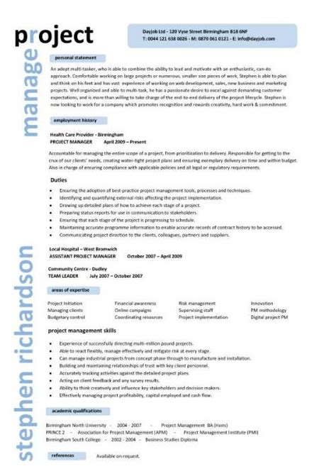 project manager resume template project manager cv template construction project