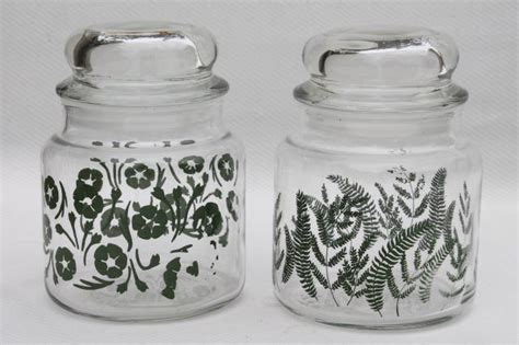 vintage glass canisters kitchen vintage anchor hocking glass kitchen canister jars green fern print retro flowers