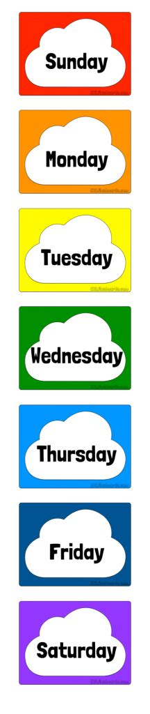 days of week days of the week free printable flashcards for teaching esl