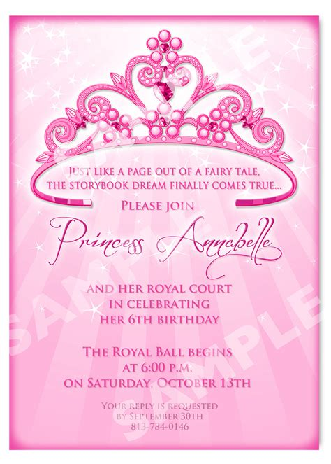 card invitations templates free printable princess birthday invitation templates