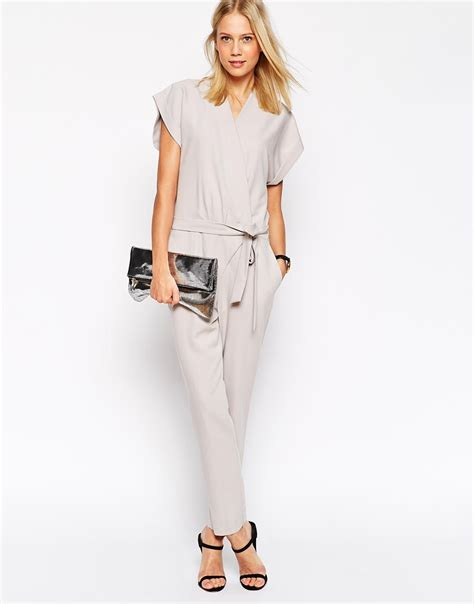Sleeve Tie Waist Jumpsuit lyst asos jumpsuit with tie waist and sleeves in gray
