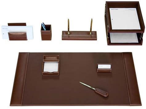 D3220 Rustic Brown Leather 10 Piece Desk Set Desk Sets Accessories
