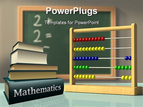 powerpoint template mathematics books and abacus in front