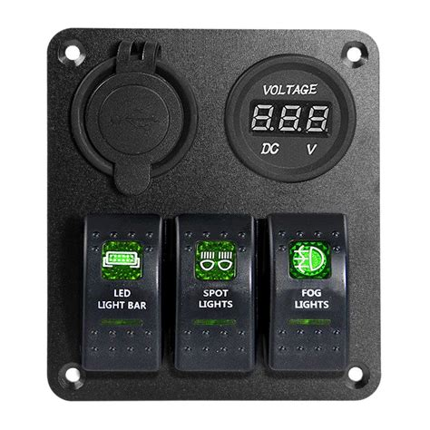 switch panel for a boat proelectric green led light 1 waterproof marine boat car
