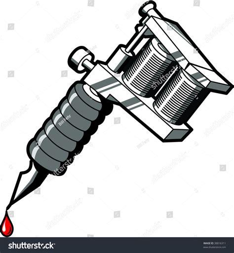 tattoo gun cartoon tattoo machine used by tattoo artists stock vector