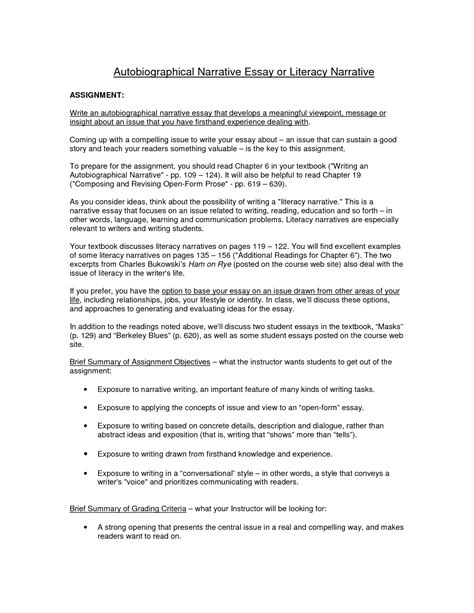 Biographical Narrative Essay Exle by Biography Essay Exle