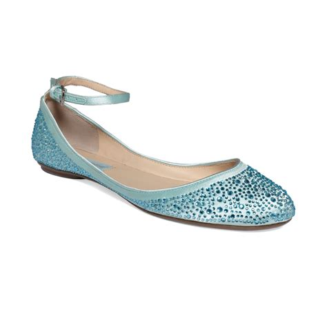 blue shoes flats betsey johnson blue by ballet flats in blue lyst