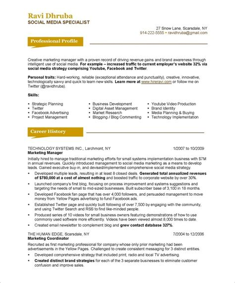 media resume template social media specialist free resume sles blue sky