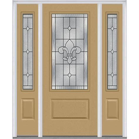 Exterior Doors With Sidelites Milliken Millwork 64 5 In X 81 75 In Carrollton Decorative Glass 3 4 Lite Painted Fiberglass