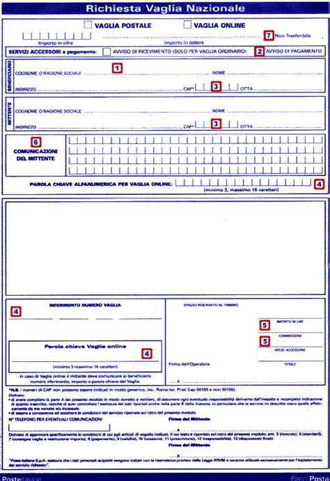 Carta Banco Posta Compass by Come Compilare Un Vaglia Postale