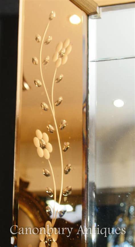antique art deco etched glass pier mirror mantle mirrors