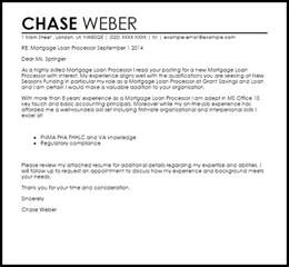 Mortgage Check Up Letter Mortgage Loan Processor Cover Letter Sle Livecareer