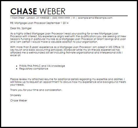 Mortgage Loan Processor Cover Letter Sample   LiveCareer
