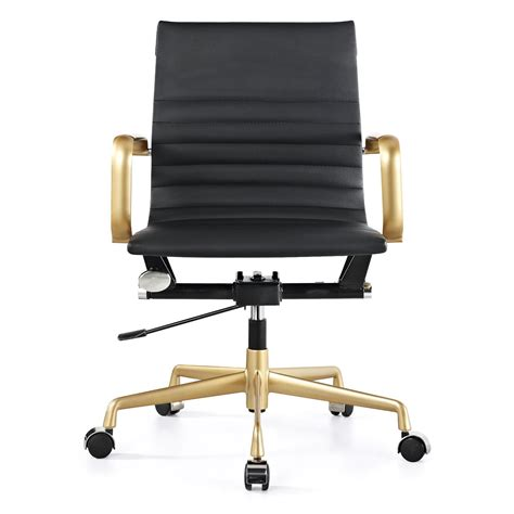Office Chairs Gold Meelano M348 Office Chair In Gold And Black Vegan Leather