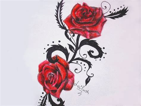 red roses tattoo two roses with black leaves design