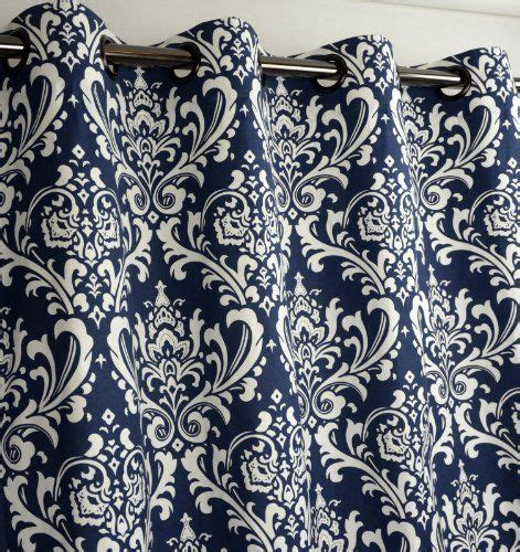 navy blue and white curtain panels navy blue and white damask drape one grommet top curtain