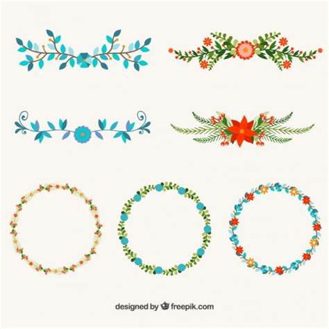 free designer flower design elements vector free