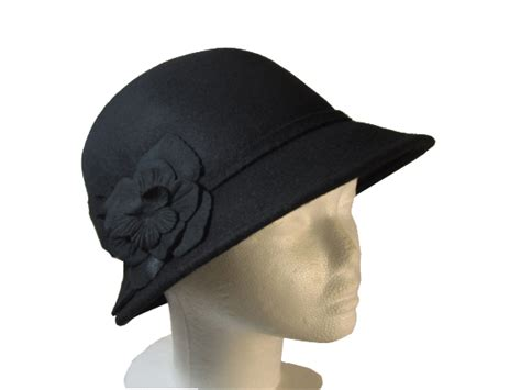 s vintage style wool cloche black with clover