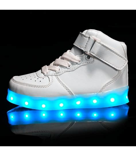 High Top Light Up Shoes by Glidekicks Juniors White High Tops Led Sneakers