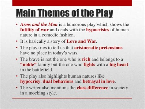 themes of a story powerpoint arms and the man by gb shaw ppt