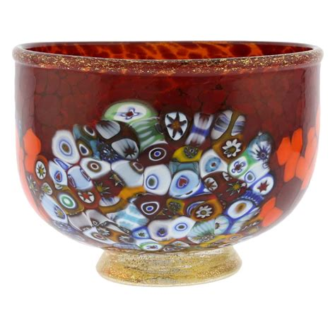 Art Glass Vases And Bowls Murano Glass Vases Murano Millefiori Art Glass Bowl Red