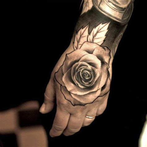 hand tattoo rose clock 31 rose tattoos on hands for men