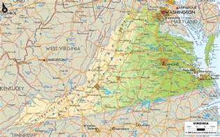 Map Virginia by Physical Map Of Virginia Ezilon Maps