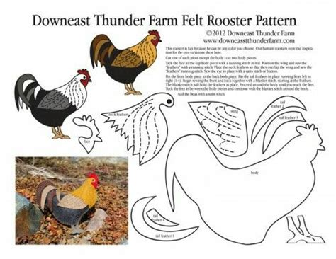 felt rooster pattern felt rooster with pattern roosters chickens hens