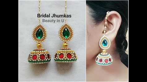 How To Make Paper Jhumkas At Home - how to make designer bridal silk thread earrings jhumkas