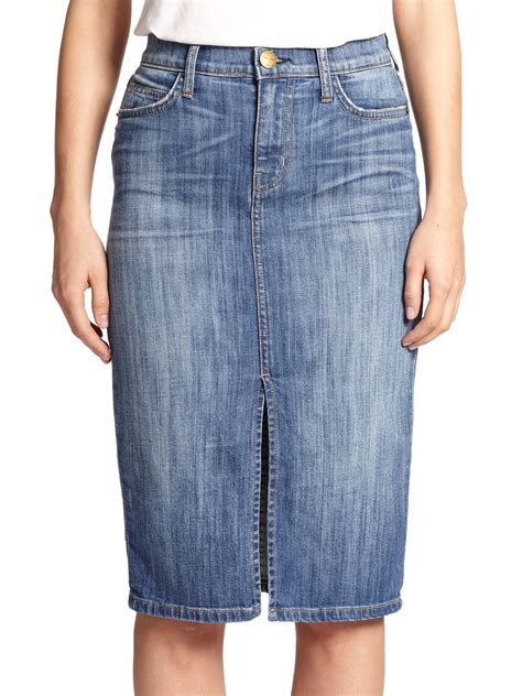 current elliott high waist denim pencil skirt in blue