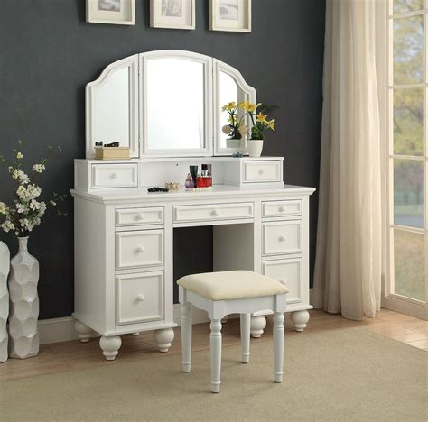 Athy Transitional White Solid Wood Vanity With Stool by Athy Vanity Set W Stool