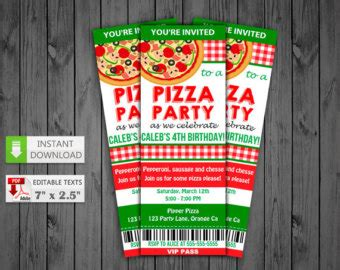 printable pizza tickets printable invitation etsy