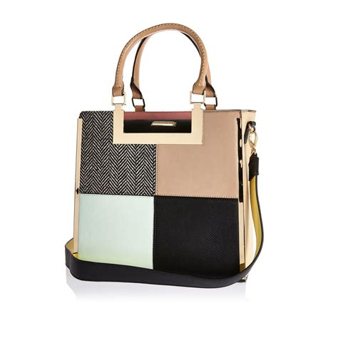 Patchwork Tote Bags - river island pink patchwork tote handbag green pattern