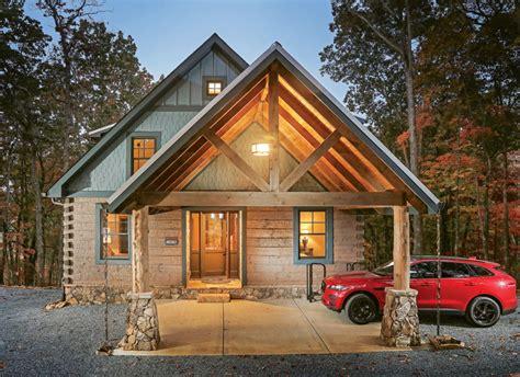 a modern log cabin