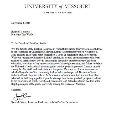 Mizzou S Chancellor Loftin Soon To Be Fired Former President Of Texas A M Secrant Com Vote Of No Confidence Petition Template