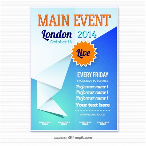 origami event poster template vector free download