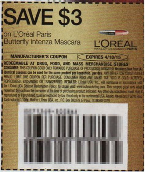 l oreal products 5 00 printable coupon couponing free l oreal intenza butterfly mascara at cvs