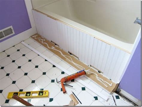 Pvc Boards For Bathrooms by Bathroom Makeover How To Add Decorative Molding To A Bathtub Pvc Board Style And Diy Bathtub