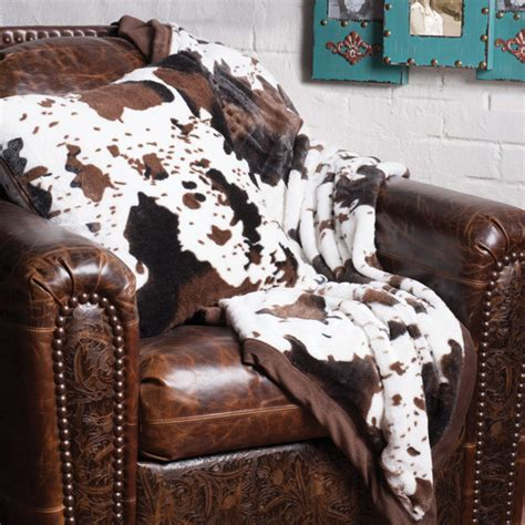 Cow Skin Blanket Cowhide Throw And Pillow