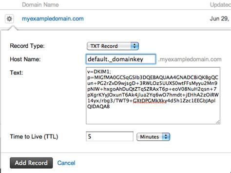create  dkim txt record