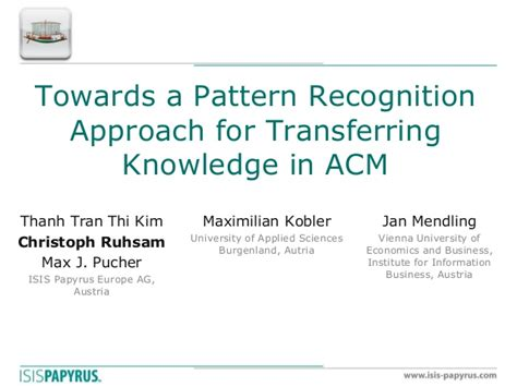 pattern recognition slideshare towards a pattern recognition approach for transferring