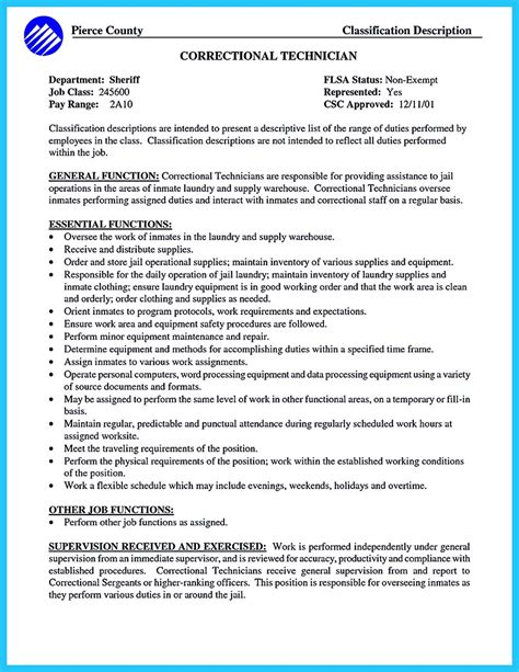 Correctional Officer Sle Resume by Corrections Officer Resume Description 28 Images The Best Resume Letter And Cv For Engineer