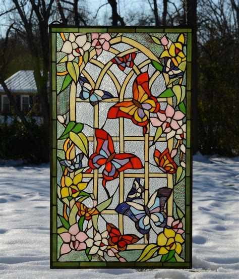 stained glass butterfly l 20 quot x 34 quot butterfly flower garden tiffany style stained