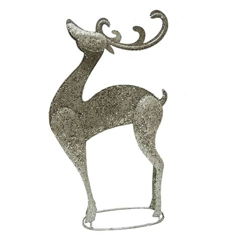 reindeer silver diamond christmas ornament large chagne glitter metal reindeer freestanding ornament