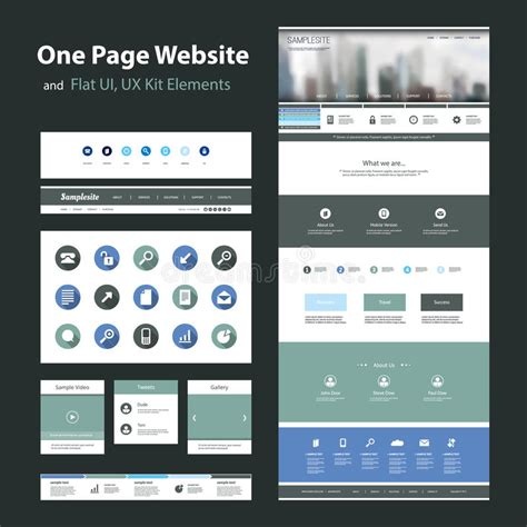 One Page Website Design Template And Flat Ui Ux Elements Stock Vector Illustration Of Ui Website Templates